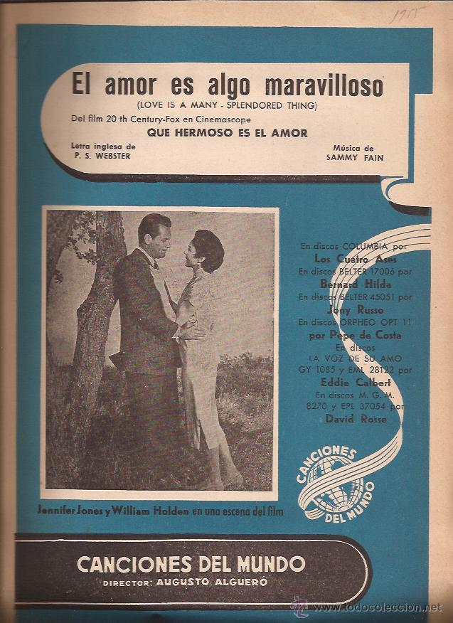 PARTITURA-EL AMOR ES ALGO MARAVILLOSO-CANCIONES DEL MUNDO-SPAIN 1955-FOUR ACES-CINE-WILLIAM HOLDEN (Música - Partituras Musicales Antiguas)