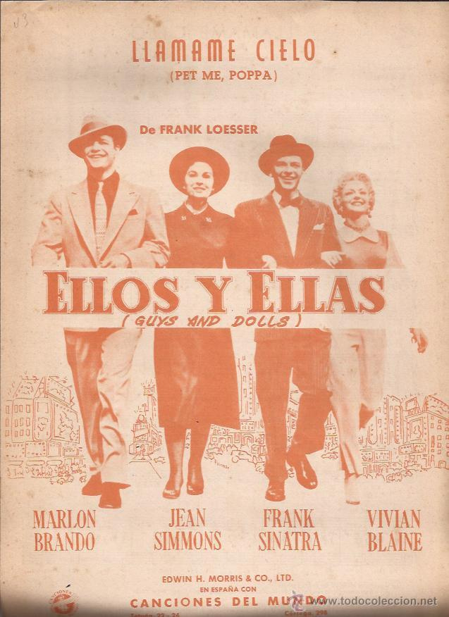 PARTITURA-LLAMAME CIELO ELLOS Y ELLAS GUYS AND DOLLS-CANCIONES DEL MUNDO-SPAIN 1955-CINE-BRANDO (Música - Partituras Musicales Antiguas)