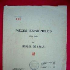 Partiture musicali: MANUEL DE FALLA - PIÈCES ESPAGNOLES . Lote 44652333