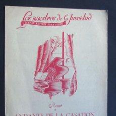 Partituras musicales: MOZART / ANDANTE DE LA CASATION / LOS MAESTROS DE LA JUVENTUD / PARTITURA FACIL PARA PIANO. Lote 49725969