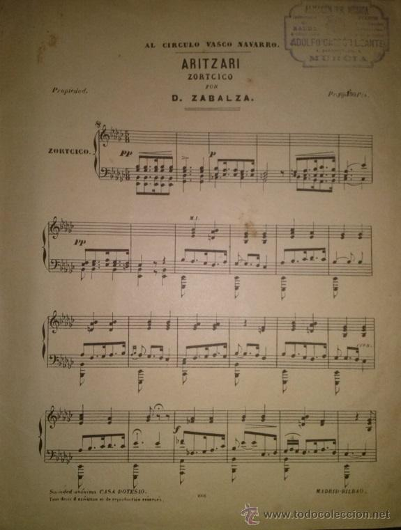 ARITZARI ZORTCICO POR D. ZABALA DEDICADO AL CIRCULO VASCO NAVARRO (Música - Partituras Musicales Antiguas)