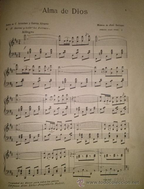 ALMA DE DIOS ESCENA Y BAILE LA FARRUCA DEL MAESTRO SERRANO (Música - Partituras Musicales Antiguas)