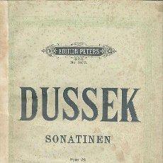 Partituras musicales: SONATINEN OP. 20 PIANOFORTE J. L. DUSSEK PETERS. Lote 47140021