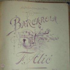 Partituras musicales: BARCAROLA PARA PIANO POR F. ALIO. Lote 47989773