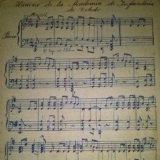 Partituras musicales: HIMNO DE LA ACADEMIA DE INFANTERIA DE TOLEDO PARTITURA MANUSCRITA PRINCIPIOS DEL XX. Lote 48949002
