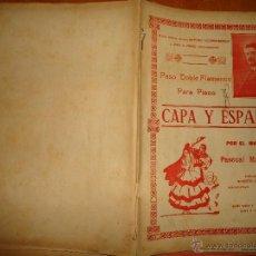 Partituras musicales: ANTIGUA PARTITURA - PASO DOBLE FLAMENCO PARA PIANO, CAPA Y ESPADA - MAESTRO PASCUAL MAZZOTTA . Lote 49252141