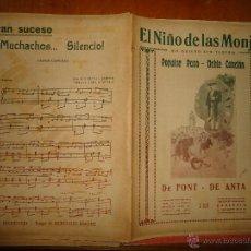 Partituras musicales: ANTIGUA PARTITURA EL NIÑO DE LAS MONJAS YO QUIERO SER TORERO POPULAR PASO DOBLE CANCION FONT ANTA. Lote 49252182