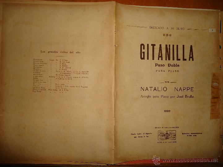 ANTIGUA PARTITURA - GITANILLA PASO DOBLE PIANO, NATALIO NAPPE , ARREGLO PARA PIANO POR JOSE BRULLO , (Música - Partituras Musicales Antiguas)