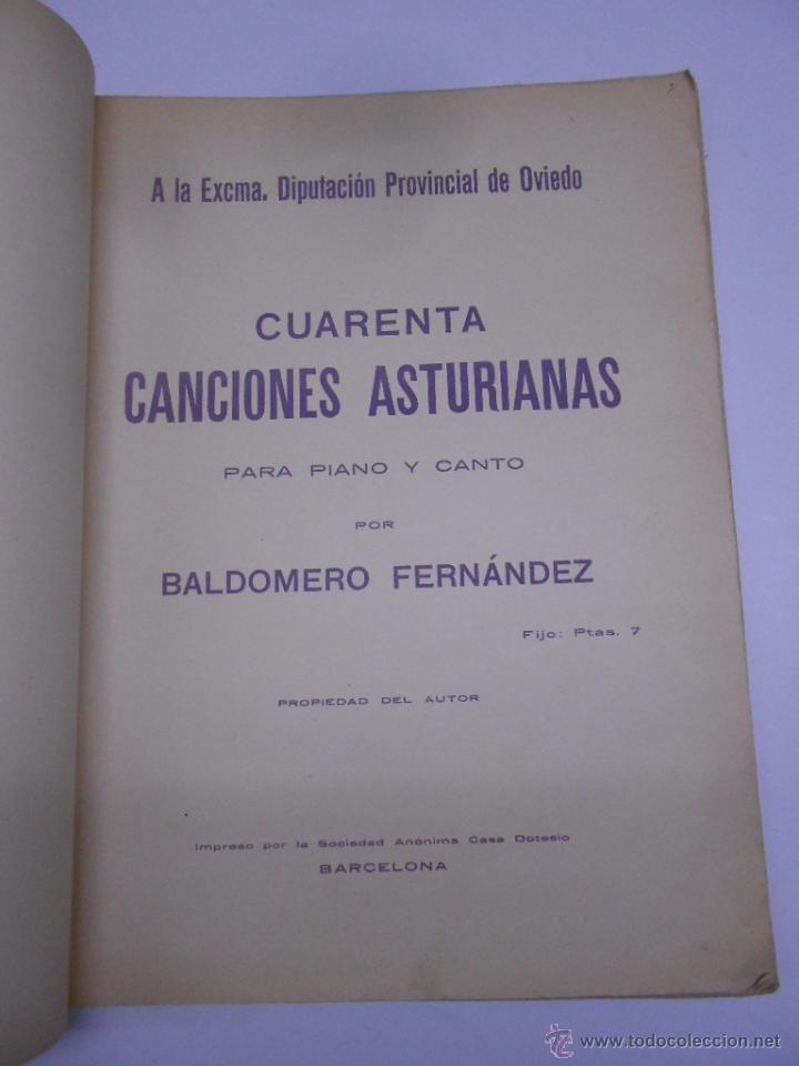 Partituras musicales: PARTITURA Cuarenta canciones asturianas. Baldomero Fernández. SIN FECHA (1914). Asturias. - Foto 3 - 50086656