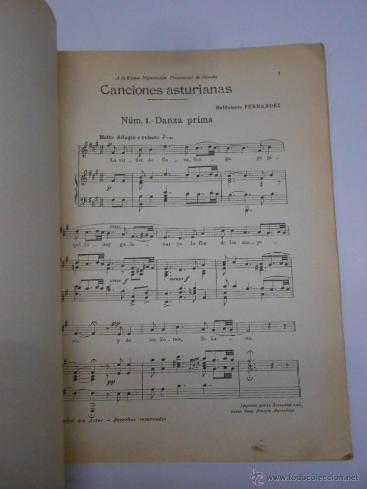 Partituras musicales: PARTITURA Cuarenta canciones asturianas. Baldomero Fernández. SIN FECHA (1914). Asturias. - Foto 4 - 50086656