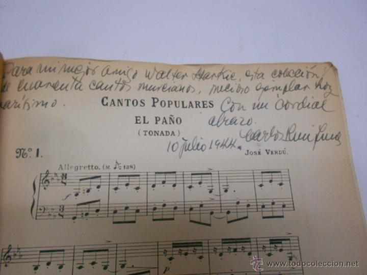 Partituras musicales: COLECCION DE CANTICOS POPULARES DE MURCIA POR F.VERDU. DEDICATORIA MANUSCRITA... AÑO 1905.RARISIMO - Foto 2 - 50138793