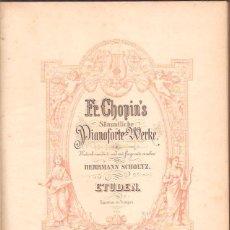 Partituras musicais: ESTUDIOS DE CHOPIN PIANOFORT SELLO 1902 EDITION PETERS 121 PÁGINAS. Lote 50226595