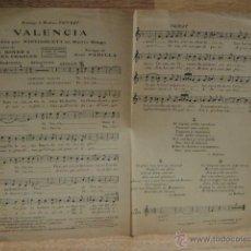 Partituras musicales: VALENCIA - JOSE PADILLA - VERSION MISTINGUETT DEL MOULIN ROUGE - AÑO 1925. Lote 50641098
