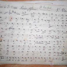Partituras musicales: PARTITURA MANUSCRITA SIGLO XIX MISA A TRES VOCES JUAN GINOT MANUSCRITO DE 10 PAGINAS. Lote 50935123