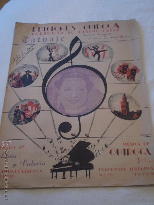 Tatuajes Partituras Musicales conchita piquer.tatuaje,ricardo leon,ediciones - comprar partituras
