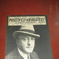 Partituras musicales: ANTIGUA PARTITURA MUSICA LETRA *POSITIVELY-ABSOLUTELY* BY HERMAN DAREWSKI - AÑO 1927. Lote 51896430