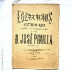 Partituras musicales: EJERCICIOS DE ENTONACION Y MEDIDA JOSE PINILLA. Lote 52124073
