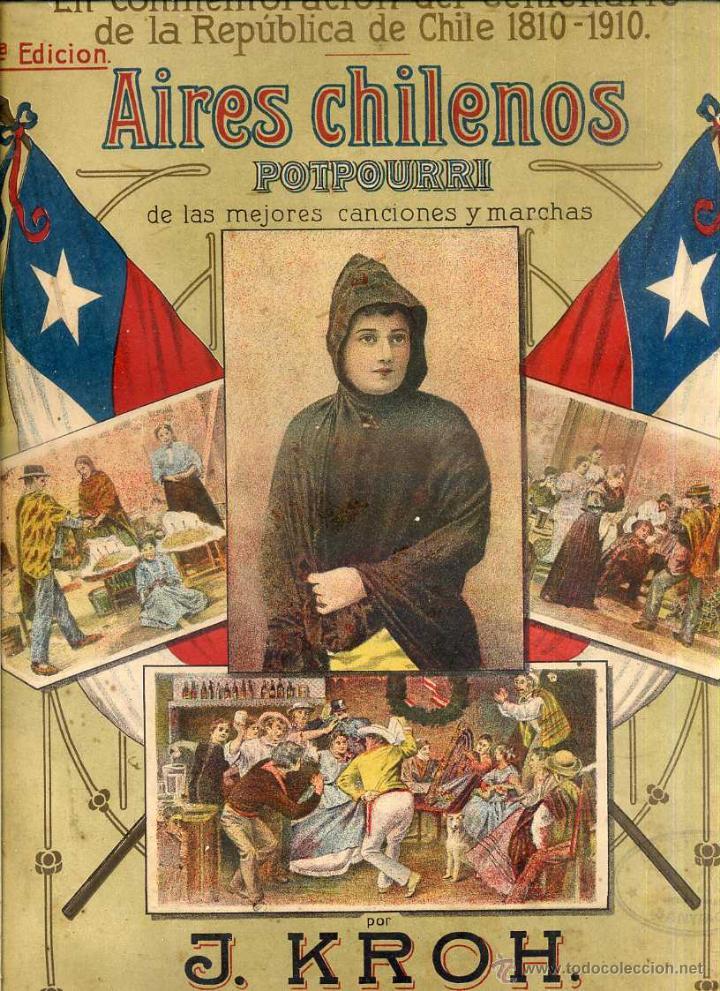 AIRES CHILENOS - CENTENARIO DE LA REPÚBLICA DE CHILE 1910 (Música - Partituras Musicales Antiguas)