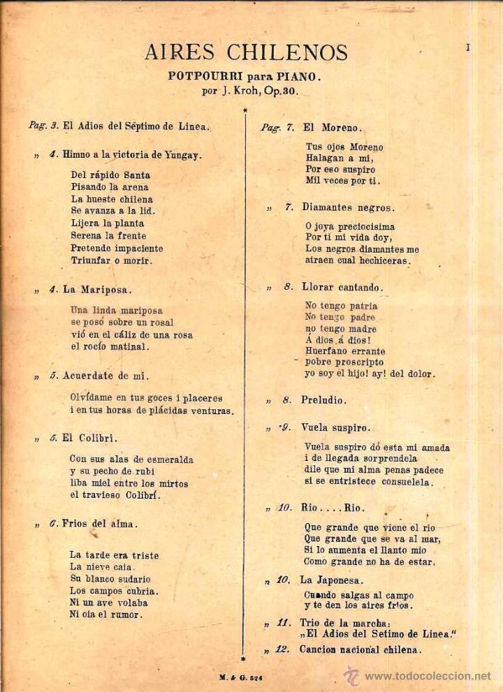 Partituras musicales: AIRES CHILENOS - CENTENARIO DE LA REPÚBLICA DE CHILE 1910 - Foto 2 - 139252826