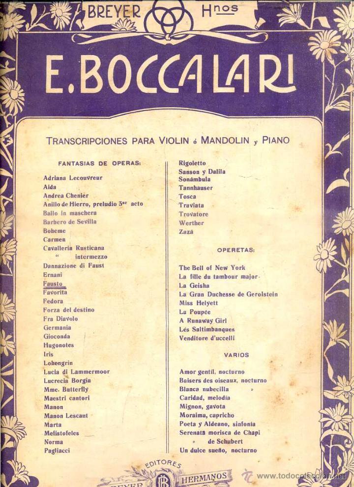 BOCCALARI . FAUST DE GOUNOD - VIOLIN Y PIANO (BREYER, BUENOS AIRES) (Música - Partituras Musicales Antiguas)