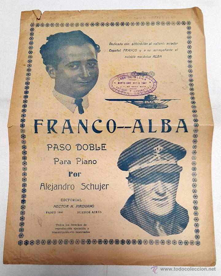 RAMÓN FRANCO - PASODOBLE - HOMENAJE PLUS ULTRA - 1926 (Música - Partituras Musicales Antiguas)
