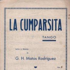Partituras musicales: MATOS RODRÍGUEZ : LA CUMPARSITA - TANGO (BOILEAU). Lote 53279894