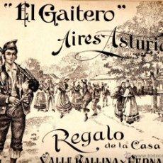 Partituras musicales: SIDRA EL GAITERO : AIRES ASTURIANOS (BALLINA Y FERNÁNDEZ, VILLAVICIOSA). Lote 53302503