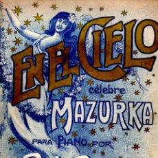 Partituras musicales: PALAU : EN EL CIELO - MAZURKA (ALIER, MADRID, S/F). Lote 53321775