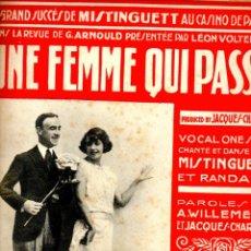 Partituras musicales: MISTINGUETT : UNE FEMME QUI PASSE (SALABERT, PARIS, 1921). Lote 53321965