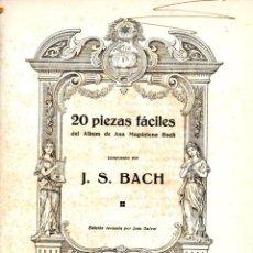Partituras musicales: BACH : VEINTE PIEZAS FÁCILES DEL ÁLBUM DE ANA MAGDALENA BACH (BOILEAU). Lote 53322331