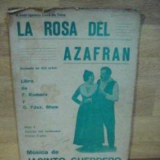 Partituras musicales: LA ROSA DEL AZAFRAN - Nº 2 CANCION DEL SEMBRADOR - JACINTO GUERRERO. Lote 53464985