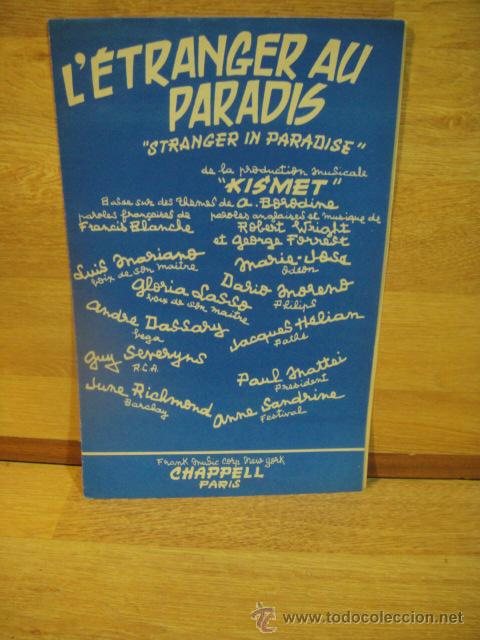 L'ESTRANGER AU PARADIS - (Música - Partituras Musicales Antiguas)