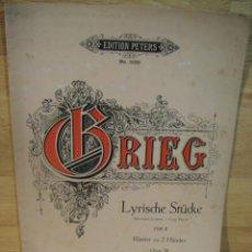 Partituras musicales: GRIEG - PIEZAS LIRICAS , OP. 38 - EDICION C. F. PETERS. Lote 53516194