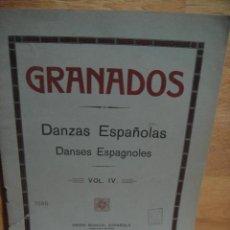 Partituras musicales: GRANADOS - DANZAS ESPAÑOLAS PARA PIANO VOL. IV- UNION MUSICAL , CASA DOTESIO. Lote 53560748