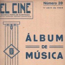 Partituras musicales: ÁLBUM DE MÚSICA EL CINE Nº 39 (1923). Lote 54703929