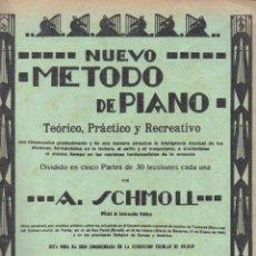 Partituras musicales: SCHMOLL : NUEVO MÉTODO DE PIANO SEGUNDA PARTE - 30 LECCIONES. Lote 54708622