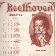 Partituras musicales: BEETHOVEN - SONATA CLARO DE LUNA (BOILEAU). Lote 179043536