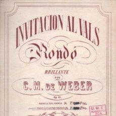 Partituras musicales: WEBER - INVITACIÓN AL VALS RONDÓ BRILLANTE OP. 65 (UNION MUSICAL ESPAÑOLA). Lote 54709080