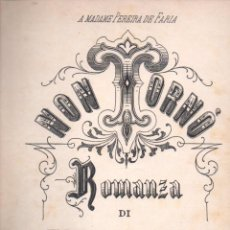 Partituras musicales: NON TORNÓ - ROMANZA DI TITO MATTEI (RICORDI). Lote 54718536