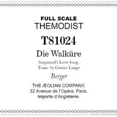 Partituras musicales - Rollo para pianola - Richard Wagner - Die Walküre - 55689419