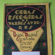 Partituras musicales: OBRAS ESCOGIDAS DE VARIOS AUTORES. Lote 56054251