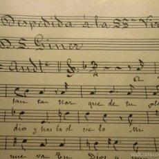 Partituras musicales: MANUSCRITO PARTITURA S XIX INEDITA SALVADOR GINER VIDAL VALENCIA DEPEDIDA A LA SSMª VIRGEN. Lote 56580158