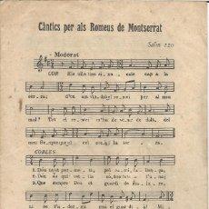 Partituras musicales: CÀNTICS PER ALS ROMEUS DE MONTSERRAT (MÚSICA IMPRESA). Lote 56959105