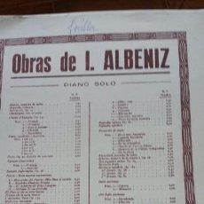 Partituras musicales: PARTITURA ALBENIZ- SUITE ESPAÑOLA N° III, SEVILLANAS. 1918- UNIÓN MUSICAL ESPAÑOLA. Lote 56993492