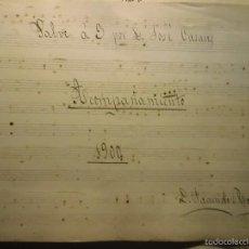 Partituras musicales: PARTITURA MANUSCRITA INEDITA SALE A 3 V. DE JOSE CASAUS 1900 POR F ROGLÁ. Lote 57083145