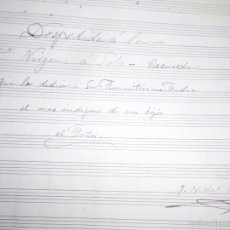 Partituras musicales: PARTITURA ORIGINAL FIRMADA AUTOR G VIDAL MANUSCRITA SIGLO XIX DESPEDIDA A LA VIRGEN. Lote 56574559