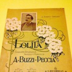Partituras musicales: PARTITURA DE LOLITA, DE BUZZI-PECCIA.. Lote 57250520