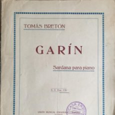 Partituras musicales: PARTITURA PARA PIANO. GARÍN, TOMAS BRETÓN. SARDANA. Lote 57793395