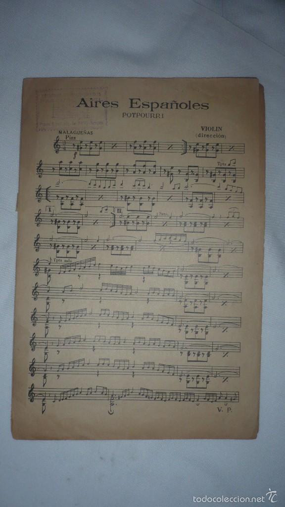 AIRES ESPAÑOLES (POTPURRI) - MALAGUEÑAS - VIOLIN (Música - Partituras Musicales Antiguas)