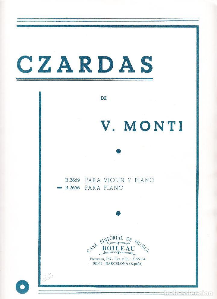 CZARDAS DE V MONTI - B.2659 VIOLIN Y PIANO - B.2656 PIANO - BOILEAU (Música - Partituras Musicales Antiguas)